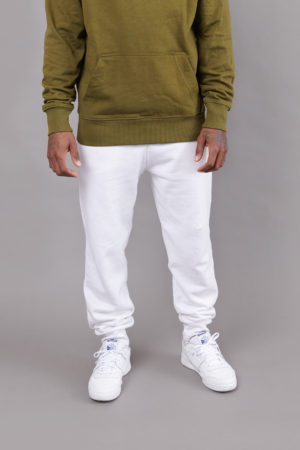 Track Pant White w/ Ribbed Cuff